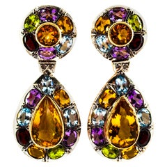 Art Nouveau Diamond Amethyst Garnet Quartz Peridot Citrine Yellow Gold Earrings