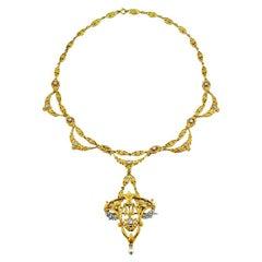 Art Nouveau Diamond and Gold Pendant Necklace