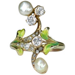 Art Nouveau Diamond and Natural Pearl Plique A Jour Enamel Antique Ring