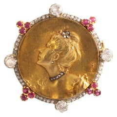 Art Nouveau Diamond and Ruby Lady's Profil