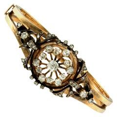 Art Nouveau Diamond Bangle Gold Bracelet
