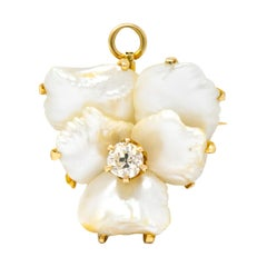 Art Nouveau Diamond Baroque Pearl 14 Karat Gold Pansy Flower Pendant Brooch