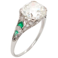 Art Nouveau Diamond Cushion and Emerald Ring, 1910s