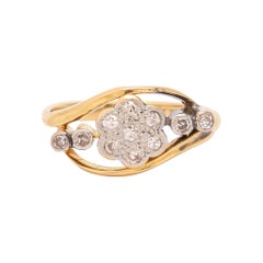Art Nouveau Diamond Daisy Crossover Ring