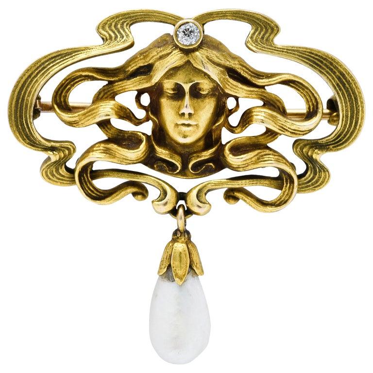 Art Nouveau Diamond Dogtooth Pearl 14 Karat Gold Goddess Brooch