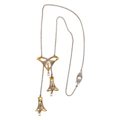 Art Nouveau Diamond Drop Pendant Necklace 18 Karat Yellow Gold Platinum
