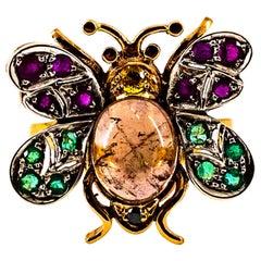 Art Nouveau Diamond Emerald Sapphire Ruby Tourmaline Yellow Gold Cocktail Ring