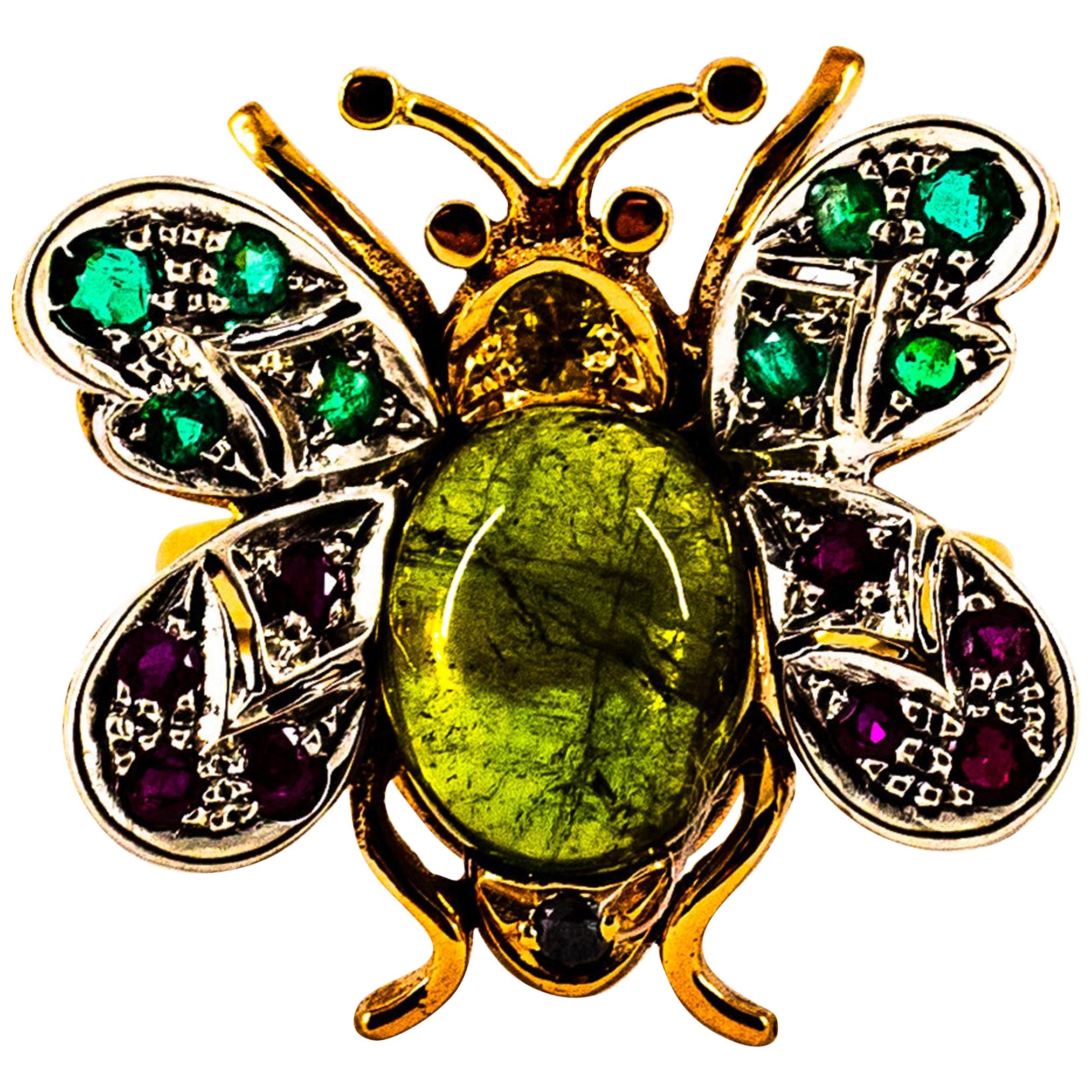 White Diamond Emerald Sapphire Ruby Green Tourmaline Yellow Gold Cocktail Ring