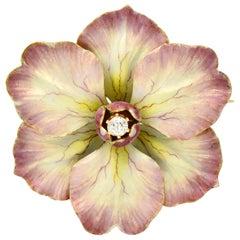 Art Nouveau Diamond Enamel 14 Karat Gold Flower Brooch