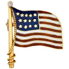 Art Nouveau Diamond Enamel 14 Karat Gold United States Patriotic Flag Pin