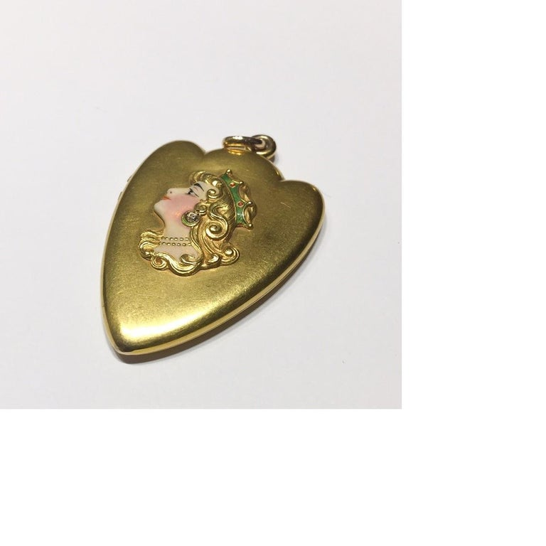 Women's Art Nouveau Diamond, Enamel and Gold Locket For Sale