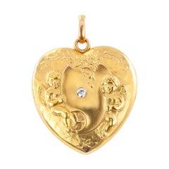 Art Nouveau Diamond Gold Heart Shaped Locket