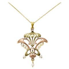 Art Nouveau Diamond Pearl 14 Karat Tri-Colored Gold Whiplash Pendant Necklace