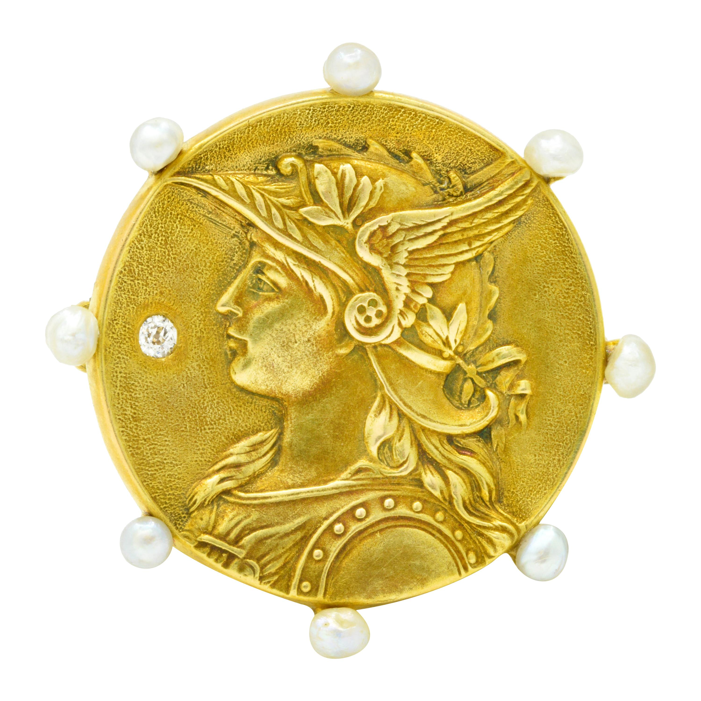 Art Nouveau Diamond Pearl 14 Karat Yellow Gold Greek Goddess Athena Brooch