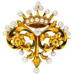 Art Nouveau Diamond Pearl Enamel 14 Karat Gold Crown Pendant Brooch