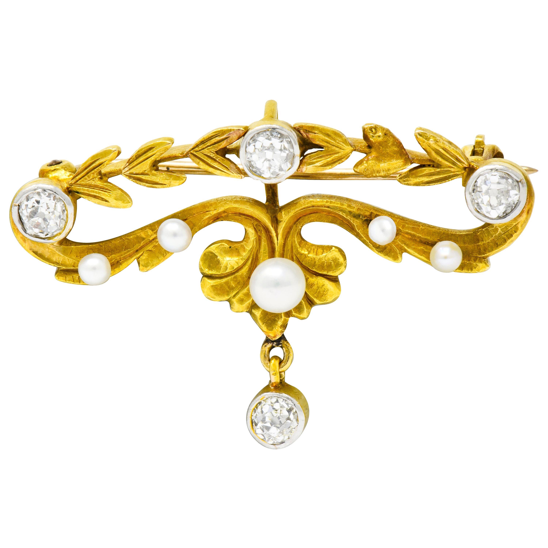 Art Nouveau Diamond Pearl Platinum-Top 14 Karat Gold Articulated Foliate Brooch