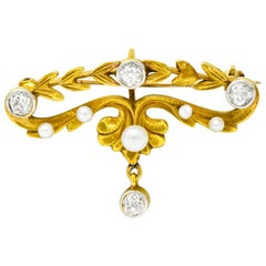 Art Nouveau Diamond Pearl Platinum-Top 14 Karat Gold Articulated Foliate Brooch