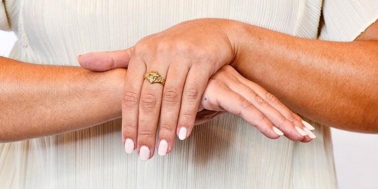 Art Nouveau Diamond Ruby 14 Karat Gold Winged Green Man Band Ring For Sale 7