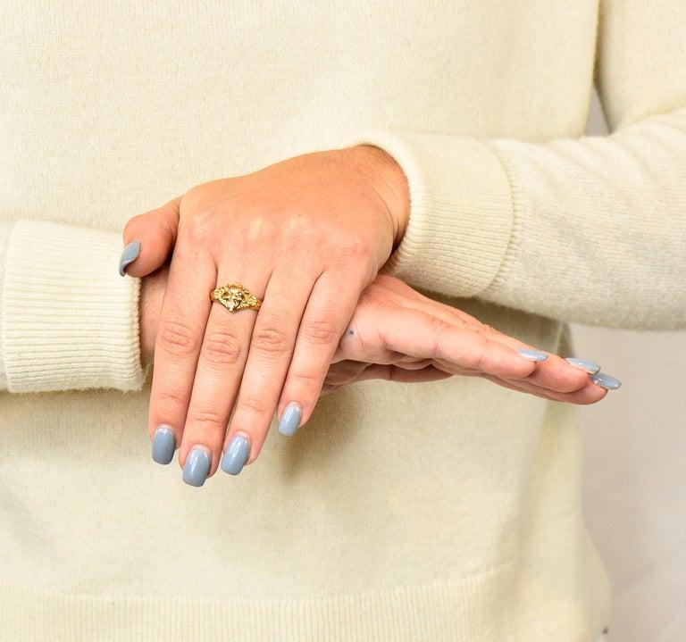 Art Nouveau Diamond Ruby 14 Karat Gold Winged Green Man Band Ring For Sale 9