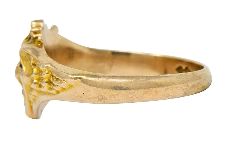Women's or Men's Art Nouveau Diamond Ruby 14 Karat Gold Winged Green Man Band Ring For Sale