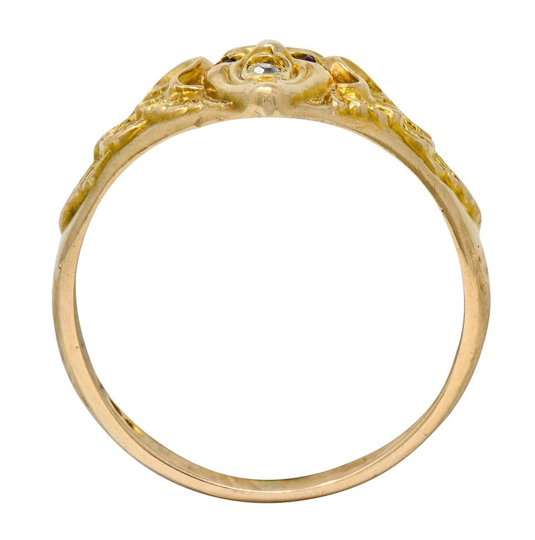 Art Nouveau Diamond Ruby 14 Karat Gold Winged Green Man Band Ring For Sale 2