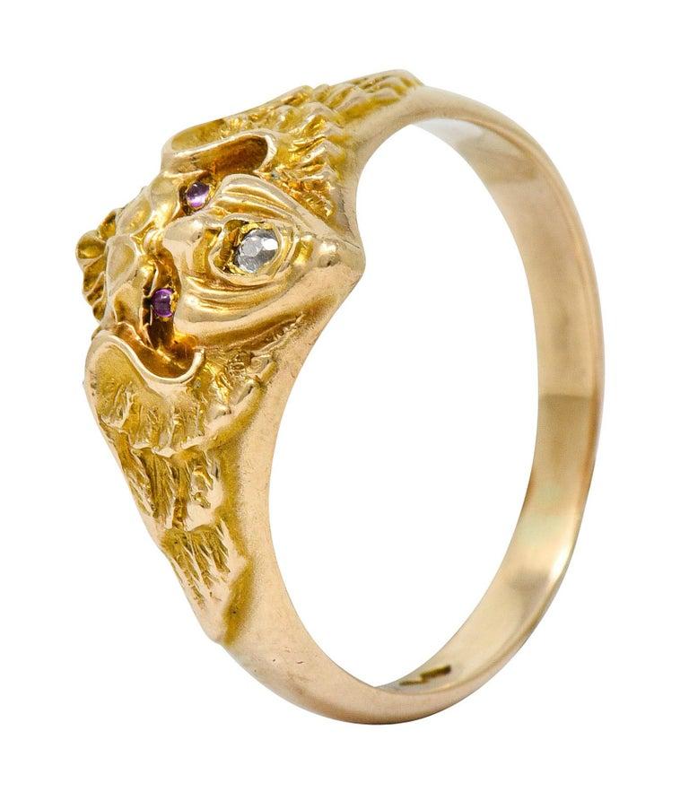Art Nouveau Diamond Ruby 14 Karat Gold Winged Green Man Band Ring For Sale 3