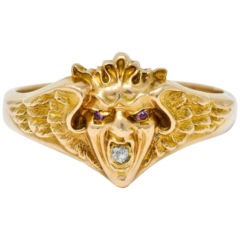 Art Nouveau Diamond Ruby 14 Karat Gold Winged Green Man Band Ring For Sale