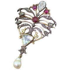 Art Nouveau Diamond, Ruby and Natural Pearl Brooch, circa 1890