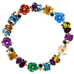 Art Nouveau Diamond Ruby Emerald Blue Sapphire Pearl White Gold Flowers Bracelet