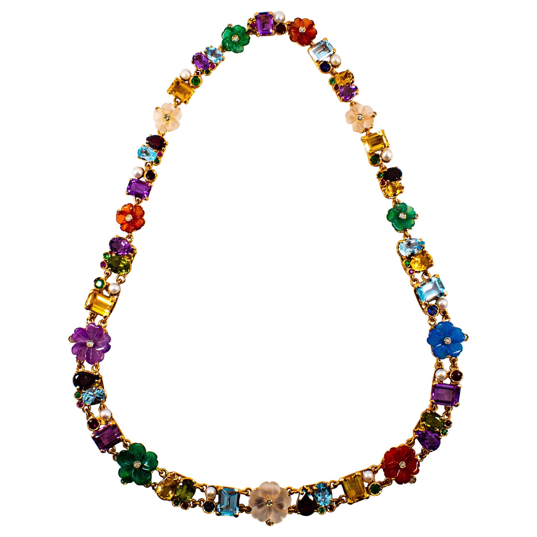 Art Nouveau Diamond Ruby Emerald Sapphire Amethyst Yellow Gold Flowers Necklace