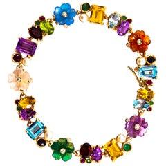 Art Nouveau Diamond Ruby Emerald Sapphire Pearl Yellow Gold Flowers Bracelet