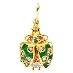 Art Nouveau Diamond Ruby Enamel 18 Karat Gold Ladybug Charm