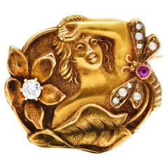 Art Nouveau Diamond Ruby Pearl 14 Karat Gold Eden Brooch