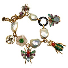 Art Nouveau Diamond Ruby Sapphire Emerald Aquamarine Pearl Yellow Gold Bracelet