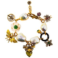 Art Nouveau Diamond Ruby Sapphire Emerald Citrine Pearl Yellow Gold Bracelet