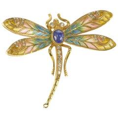 Art Nouveau Diamond Sapphire Enamel Dragonfly Gold Pin/Brooch