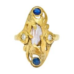 Art Nouveau Diamond Sapphire Pearl 14 Karat Gold Ring