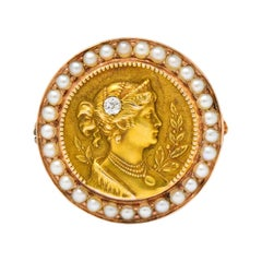 Art Nouveau Diamond Seed Pearl 14 Karat Gold Brooch Pendant