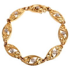 Art Nouveau Diamond Set French Bracelet, 7 Rose Cut Diamonds, 18K Yellow Gold