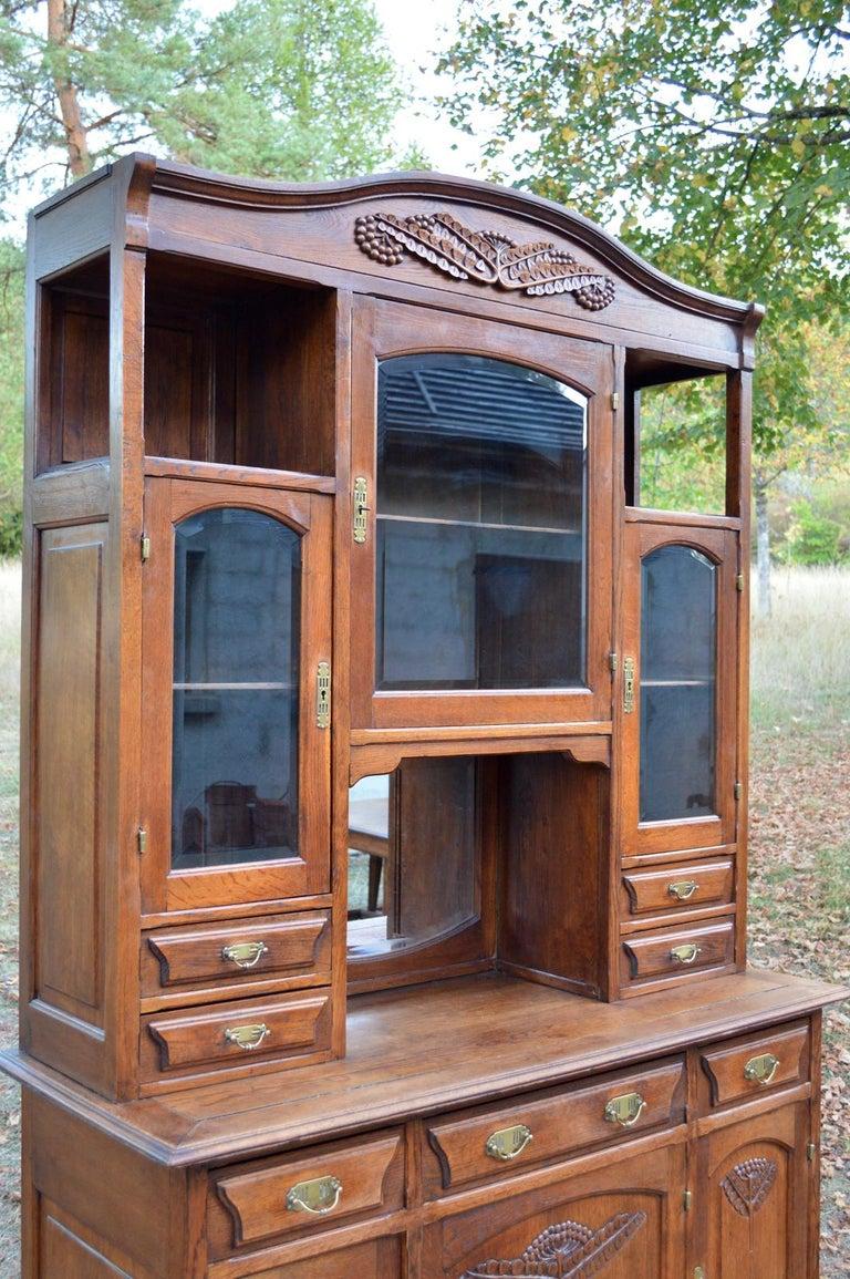 Art Nouveau Dining Room Set in Carved Oak, 1910s For Sale ...