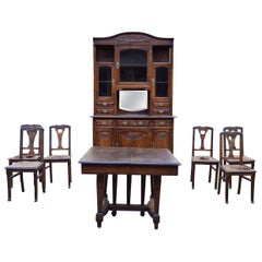 Art Nouveau Dining Room Set in Carved Oak, 1910s