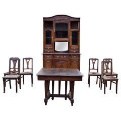 Art Nouveau Dining Room Set in Carved Oak, 1910s