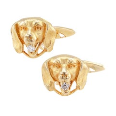 Art Nouveau Dog Face Diamond Gold Cufflinks