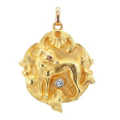 Art Nouveau Dog Locket Diamond Ruby Gold
