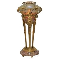 Art Nouveau Dore Bronze Art Glass Table Lamp