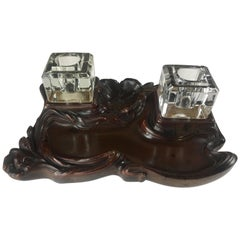 Art Nouveau Double Inkwell Wood and Solid Crystal, circa 1890