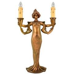 Art Nouveau Double Light Table Lamp with Lady by Lucien Alliot, 1900