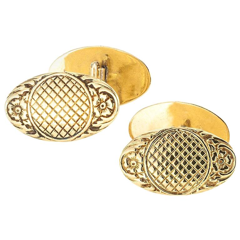 Art Nouveau Double Sided Yellow Gold Cufflinks