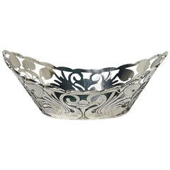Art-Nouveau Dutch Silver Small Basket by Cornelis van Baaren, 1899