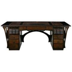 Art Nouveau Ebonized Oak Worn Leather Pedestal Desk